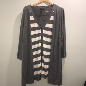 Lane Bryant 26/28W grey button cardigan
